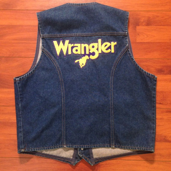 90's Wrangler Vest and Wrangler Patches - Fits lik
