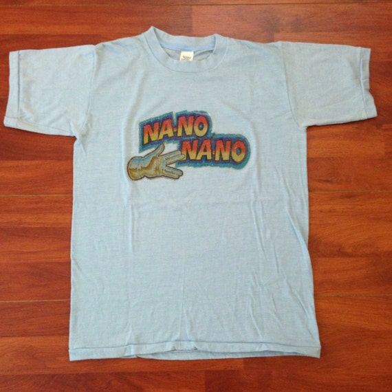 1978 Mork and Mindy NANO NANO Hand Sign Vintage T-shirt - Baby Blue - 50/50 - M - Made in USA JcElURm