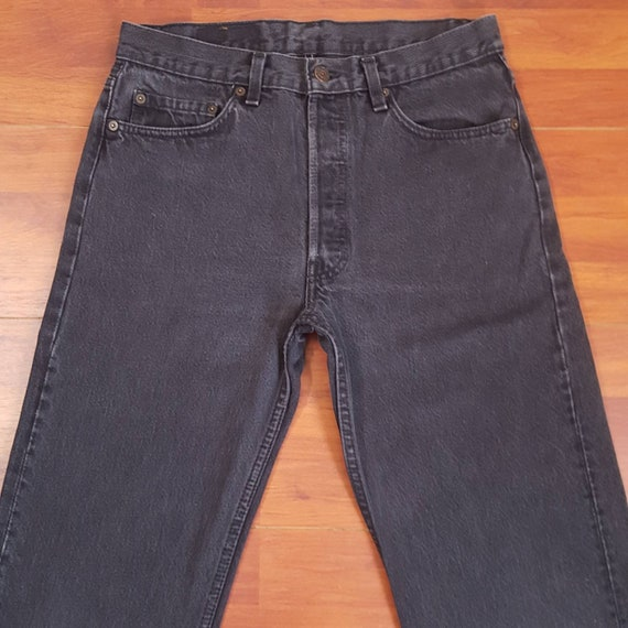 90's Faded Black Levi's 501 Jeans - Fit Like 31W 3