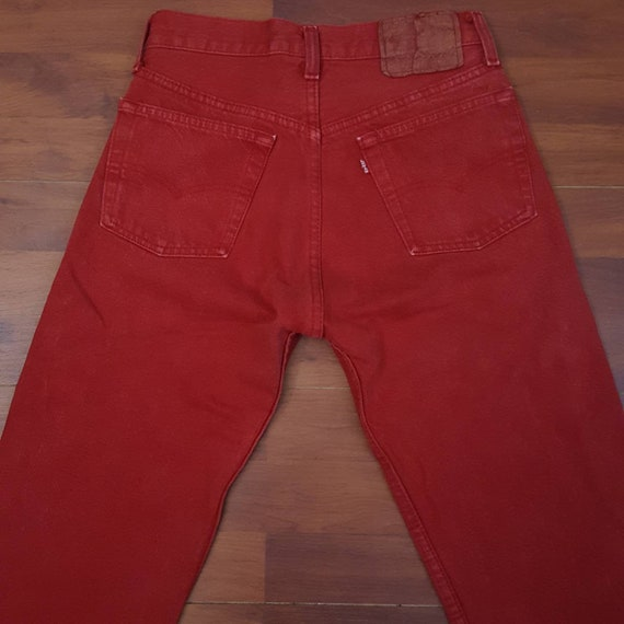90's Red Levi's 501 Jeans - Fit Like 27W 32L - Mad