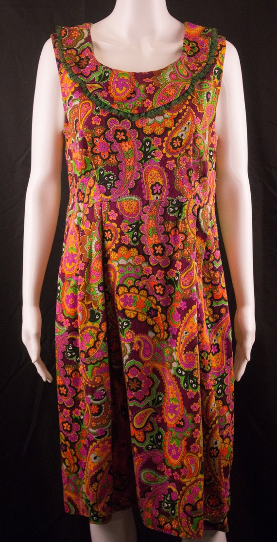 Vintage 60's Hippie Psychadelic Sleeveless Dress -