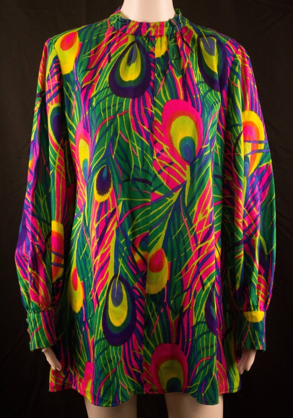 Vintage 60's Psychadelic Maxi Dress - M/L - Peacoc