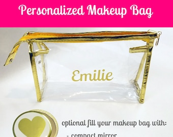 Personalized Bridesmaid Makeup Bag- Bridesmaid Cosmetic Bag- Personalized Bridesmaid Cosmetic Bag- Gold Cosmetic Bag- Gold Makeup Bag