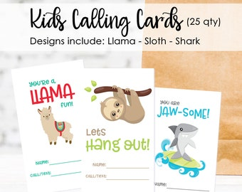 25 Kids Calling Cards- Playdate Cards- Play Date Cards- Keep In Touch Cards- Keep In Touch Cards for Kids- Sloth Lets hang out