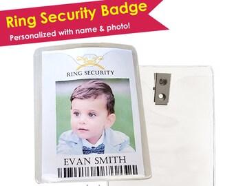 Ring Security Badge- Ring Bearer Gift- Ring Bearer Pin- Ring Bearer Badge- Ring Bearer Button- Wedding Ring Security- Wedding Security Gift