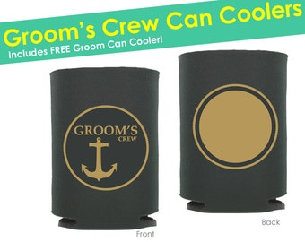 10 Bachelor Party Can Coolers- Grooms Crew Can Coolers- Bachelor Party Favors- Bachelor Party Decorations- Groomsmen Cup- Groomsmen Glasses