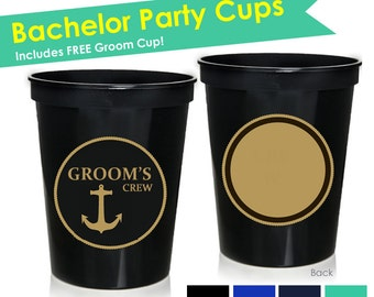 10 Bachelor Party Cups- Grooms Crew Cups- Bachelor Party Favors- Bachelor Party Decorations- Groomsmen Cup- Groomsmen Glasses- Groom Cup