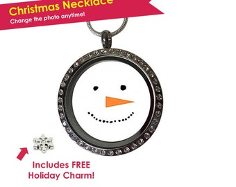 Christmas Necklace - Snowman Necklace - Snowman Jewelry - Holiday Necklace - Snowman Charm Necklace - Christmas Jewelry - Stocking Stuffer