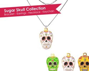 Sugar Skull Necklace- Skull Necklace- Calavera Necklace- Dia De Los Muertos Necklace- Day of the Dead Necklace