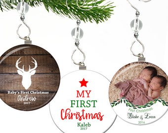 Babys First Christmas Ornament Personalized- Babys First Christmas Ornament Photo- Babys 1st Christmas Ornament Personalized- Deer Ornament