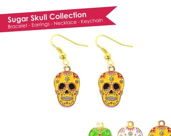 Sugar Skull Earrings- Skull Earrings- Calavera Earrings- Dia De Los Muertos Earrings- Day of the Dead Earrings