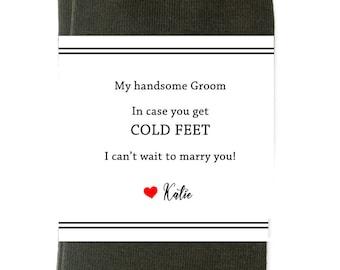Wedding Socks Groom- Cold Feet Socks- Groom Socks from Bride- Groom Socks- Socks Groom- Wedding Day Socks- Wedding Sock Labels ONLY