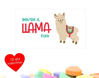 12 Llama Valentine- Llama Valentines- Llama Valentine Card- kids valentines day cards