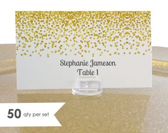 50 Wedding Place Cards Gold- Gold Place Cards- Wedding Name Cards- Name Cards Wedding- Seating Cards- Blank Place Cards- Wedding Table Cards