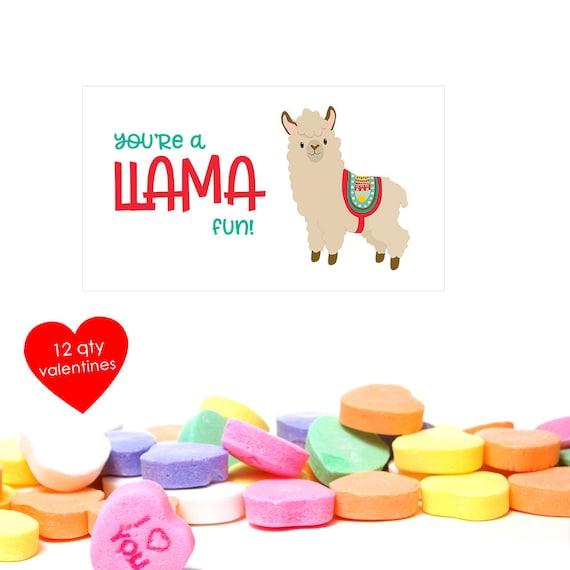 12 Llama Valentine Llama Valentines Llama Valentine Card Etsy