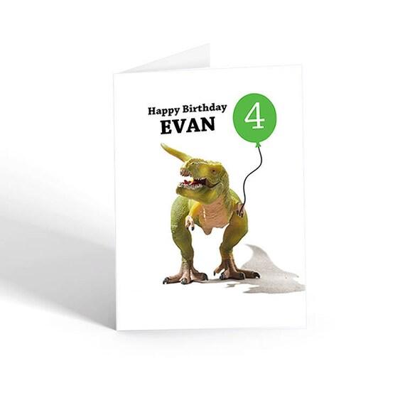 Dinosaur Birthday Card Dino T Rex