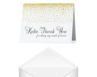 Maid of Honor Thank You Card- Personalized Thank You Maid of Honor Card- Thank You Wedding Cards- Wedding Day Cards- Thank You For Standing