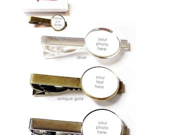 Custom Photo Tie Clip- Custom Photo Tie Bar- Wedding Tie Bar- Wedding Tie Clip- Personalized Tie Bar- Personalized Tie Clip