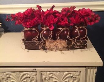 Frosted Maroon & Burlap Christmas Mason Jar Centerpiece