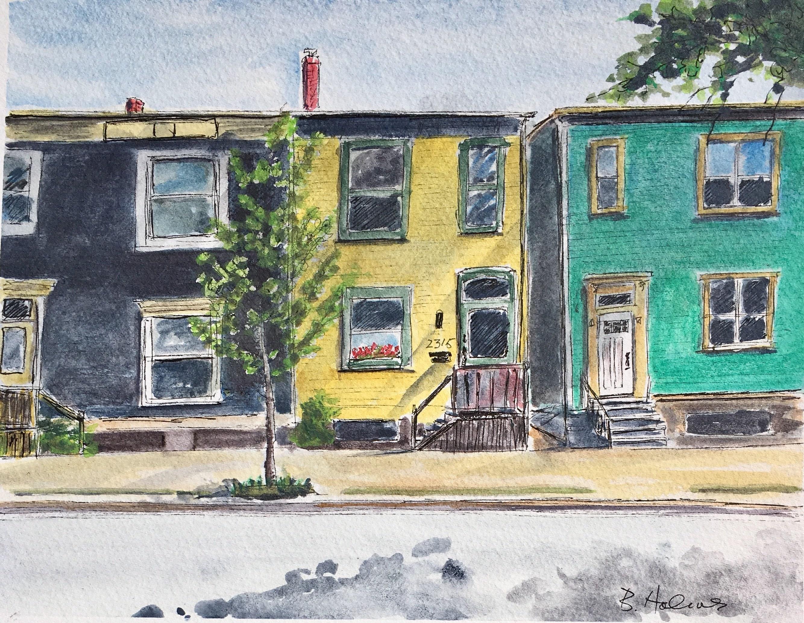 Creighton Street Trio Greeting Card Watercolour Art Painting