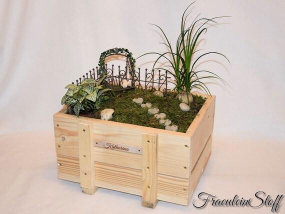 Mini-Garten Minigarten Schlitten weiß 11 x 4,5 x 6 cm Mini Garten Miniatur Deko