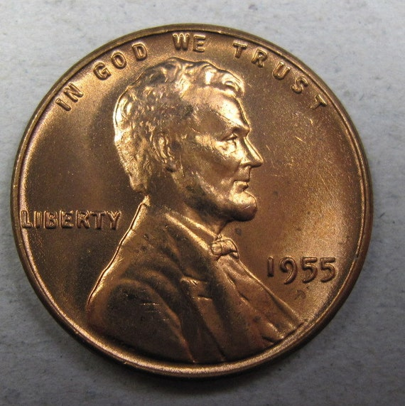 RED GEM BU UNCIRCULATED 1955-S Lincoln Wheat Cent Penny FREE SHIPPING