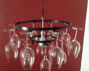 2 tier 21 Wine glass Chandelier Wine glass Rack pendant style