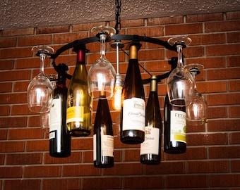 Glas Wein Und Eine Flasche Kronleuchter Wine Rack Licht Beleuchtung Wein  Dekor Kette Stil