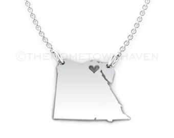 Egypt Necklace - Egypt necklace pendant, Egypt outline necklace, I love Egypt necklace