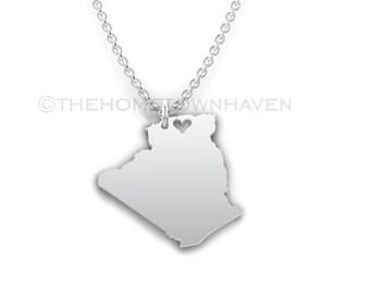 Algeria Necklace - Algeria pendant, Algeria outline necklace, I love Africa