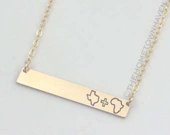 Long Distance Relationship Necklace - Gold bar necklace, state necklace, friendship necklace