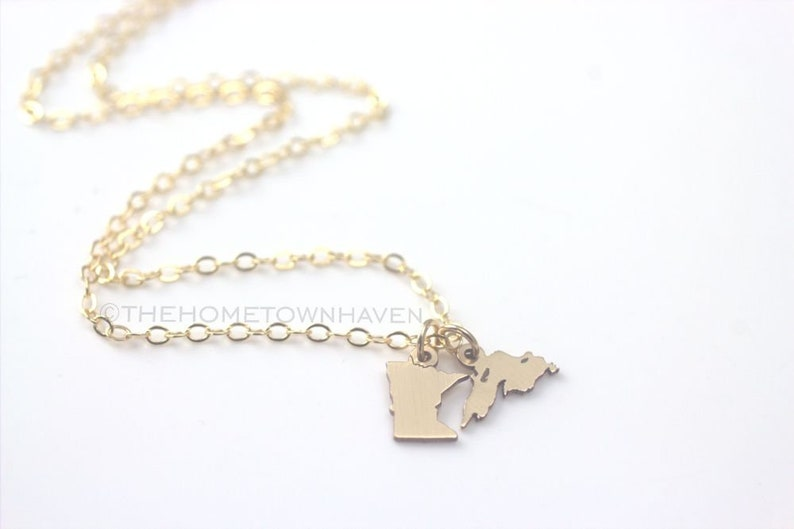 Tiny State Necklace - State Map Jewelry, Hometown State jewelry, Two State  necklace, Long Distance Relationship