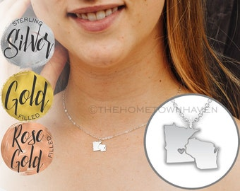 Wisconsin Minnesota Necklace - Minnesconsin necklace, Wisconsin necklace, Minnesota Wisconsin, Minnesota necklace