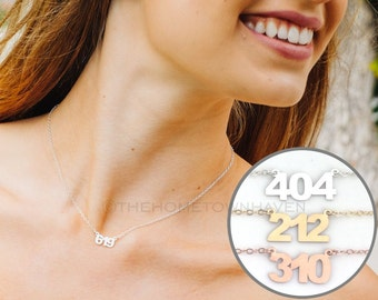 Area Code Necklace, 619 Necklace, sterling silver area code necklace, personalized area code