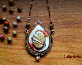 Polymer clay necklace Jasper pendant Picture jasper jewelry Jasper necklace Polymer clay pendant Fairy tale jewelry Fairy tale necklace OOAK
