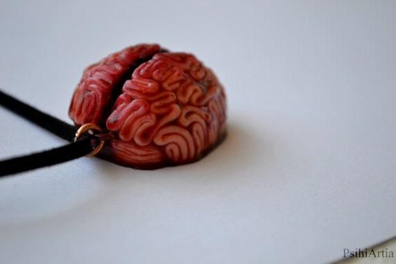 Collier en pâte fimo pendentif Halloween bijoux cerveau pendentif Spooky  cerveau collier morbide bijoux Halloween collier Creepy morbide