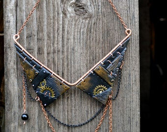 Choker necklace black Steampunk necklace Steampunk jewelry Gothic necklace Gothic jewelry Collar necklace Polymer clay necklace Wire wrapped