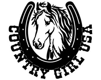 "CNC Plasma ""Country Girl USA"" Horse Metal Sign Powder Coated or Raw Steel"