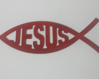 CNC Plasma Cut Jesus Fish Metal Sign Powder Coated or Raw Steel