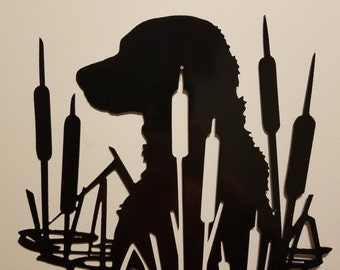 CNC Plasma Cut Dog in Cattails Metal Sign Powder Coated or Raw Steel