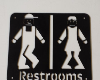 CNC Plasma Restroom Metal Sign Powder Coated or Raw Steel