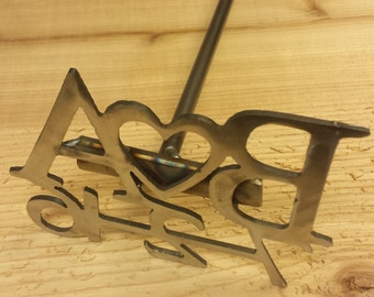 Nice Heavy Duty Metal Letter Branding Iron With Slab Of Wood - Wedding Unity