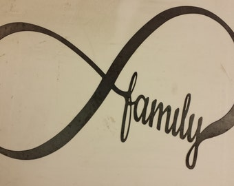 Infinity Sign With Family Metal Sign Powder Coated or Raw Steel