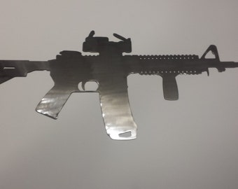 AR15 Gun Silhouette Man Cave Metal Sign Powder Coated or Raw Steel
