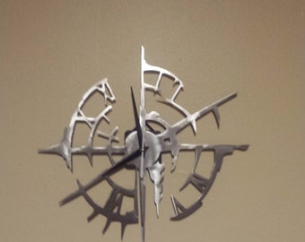 Distressed metal Clock Metal Sign Powder Coated or Raw Steel