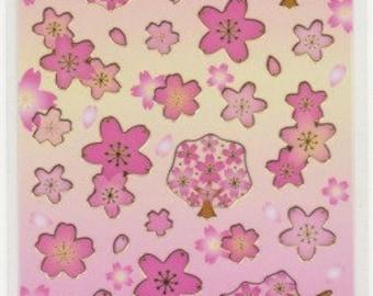 Sakura Stickers - Cherry Blossom Stickers - Gold Trim - Reference A6219-20