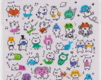 Cat Stickers - Japanese Stickers - Planner Stickers - Mind Wave Stickers - Reference A5866