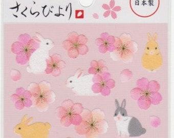 Sakura Stickers - Cherry Blossom Stickers - Rabbit Stickers - Paper Stickers - Mind Wave Stickers - Reference A6148-49
