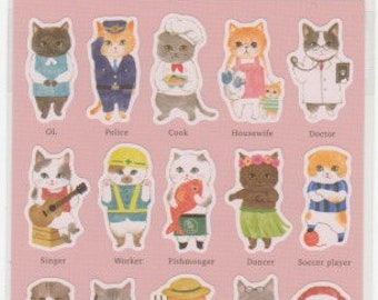 Cat Stickers - Working Cats - Japanese Paper Stickers - Mind Wave - Reference A5801-02