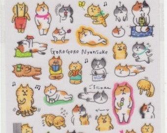 Cat Stickers - Masking Tape Stickers - Gorogoro Nyansuke Stickers - Mind Wave Stickers - Reference A5832